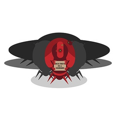 Alien ship invasion 3 big red robots with sign vector