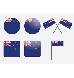 badges with flag of New Zealand vector image vector image