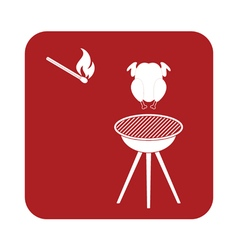Barbecue grill with chicken icon vector