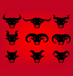 buffalo and bull head icons in tattoo style vector image vector image