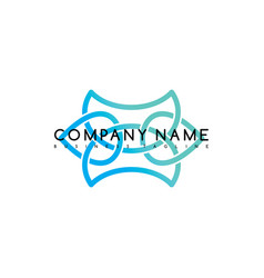 business emblem blue knot symbol curve looped vector image vector image