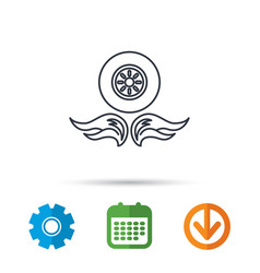 Car wheel icon fire flame symbol vector