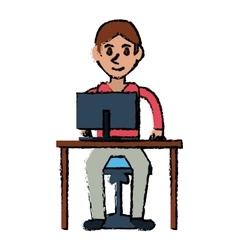 cartoon young boy uses computer desk chair design vector image