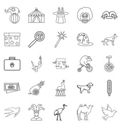 Circus with animals icons set outline style vector