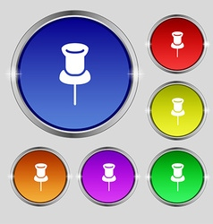 Clip icon sign round symbol on bright colourful vector