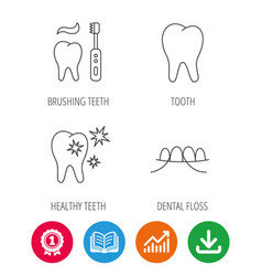 Dental floss tooth and healthy teeth icons vector