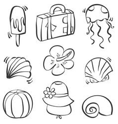 Doodle of element summer hand draw vector