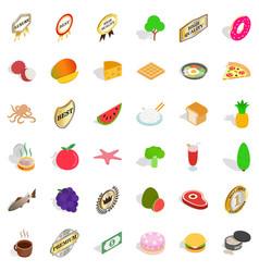 Eco diet icons set isometric style vector