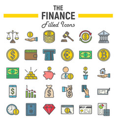 Finance filled outline icon set business signs vector