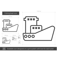 Fishing boat line icon vector
