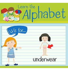 Flashcard letter U is for underwear vector image vector image