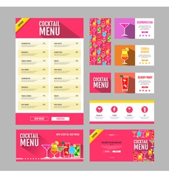 Flat style cocktail menu design Document template vector image