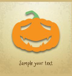 Halloween card with sad pumpkin vector