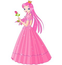 illustration of beautiful pink princess with rose vector image