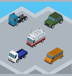 Isometric car set of armored truck lorry and vector