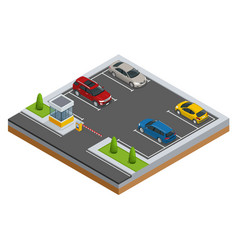 Isometric cars in the parking lot or car parking vector