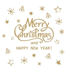 Merry Christmas and Happy New Year golden hand vector image
