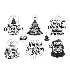 merry christmas and happy new year label set vector image vector image