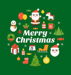 merry christmas typography font and icon vector image