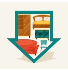 Navigation marker with furniture in retro style vector