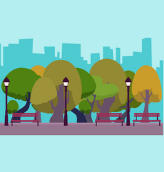 Park in the background of the city vector