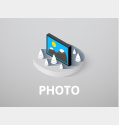 Photo isometric icon isolated on color background vector