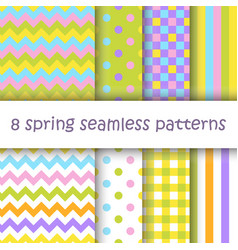 Set of geometric seamless pattern in easter colors vector