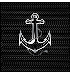 silver anchor with rope on metal background vector image vector image