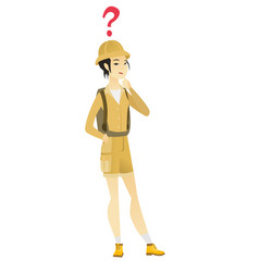 Thinking traveler with question mark vector