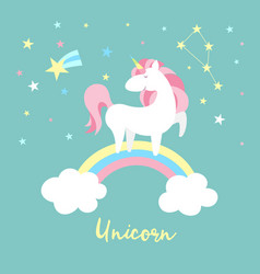 Unicorn character set cute magic collection with vector