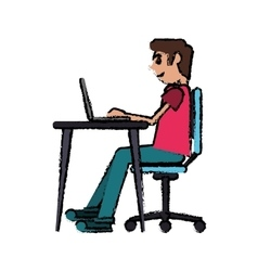 Cartoon man working front computer with pc vector
