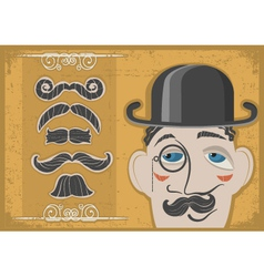 Vintage gentleman face vector