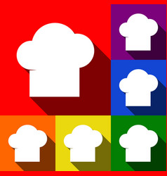 Chef cap sign  set of icons with flat vector
