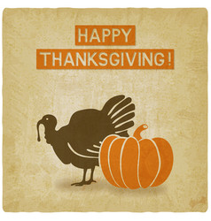 Thanksgiving greeting card old background vector