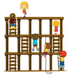 Children climbing up the wooden ladders vector