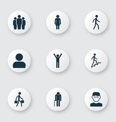 People icons set collection of jogging grandpa vector
