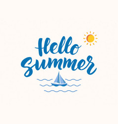 hello summer text with nautical design elements vector image