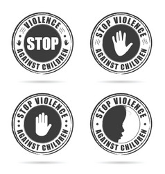 Grunge rubber stop violence against children sign vector