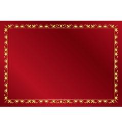 red elegant card with golden frame vector image