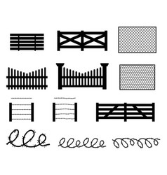 Set of rural fences in silhouette style vector