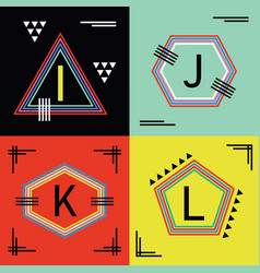 Colorful capital letters i j k and l line emblems vector