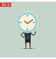 Cartoon business man with clock face - - ep vector