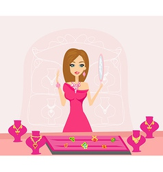 Girl and jewelry vector image