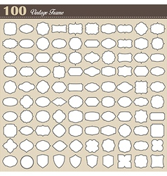 Set of 100 blank vintage frame on white background vector