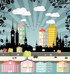 Retro flat design city vector