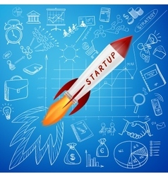 Startup concept rocket and business doodle icon vector