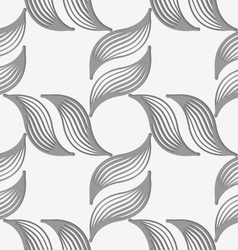 Perforated striped leafy shapes forming cross vector