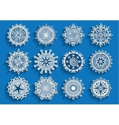 Beautiful 3d snowflakes set vector image