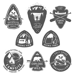 Vintage camping and hiking badges vector