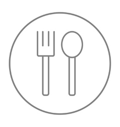 Spoon and fork line icon vector